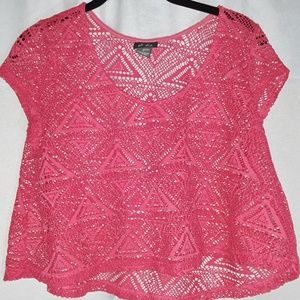 Dots Tops - Pink Lace Short Crop Top with Tags Like New